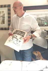Dog in lithograph shop